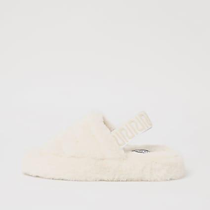 Cream RI branded back strap flatform slippers