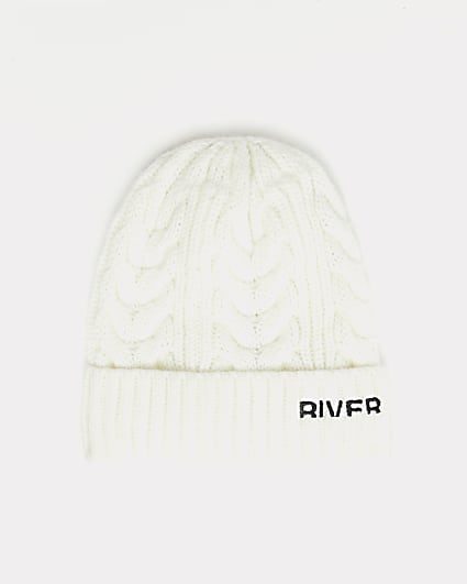 Cream RI branded cable knit beanie hat