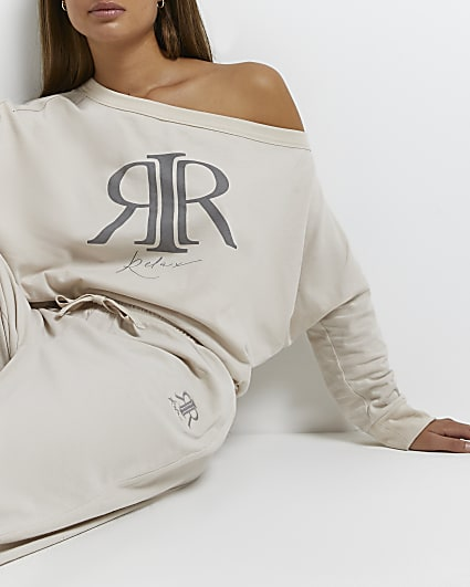Cream RI branded off the shoulder sweatshirt