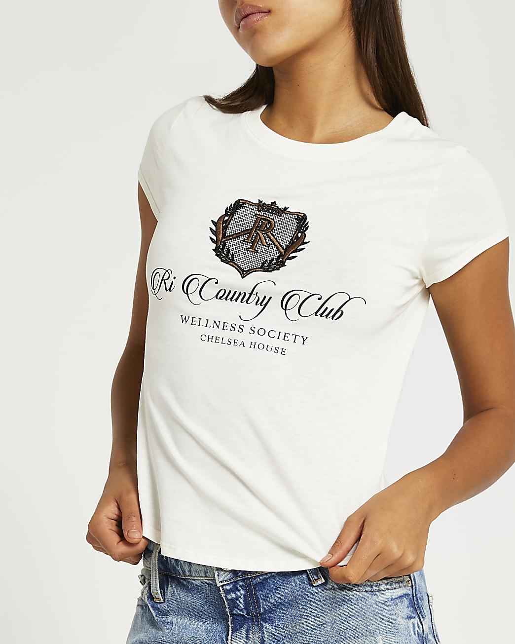 Cream RI branded shrunken t-shirt