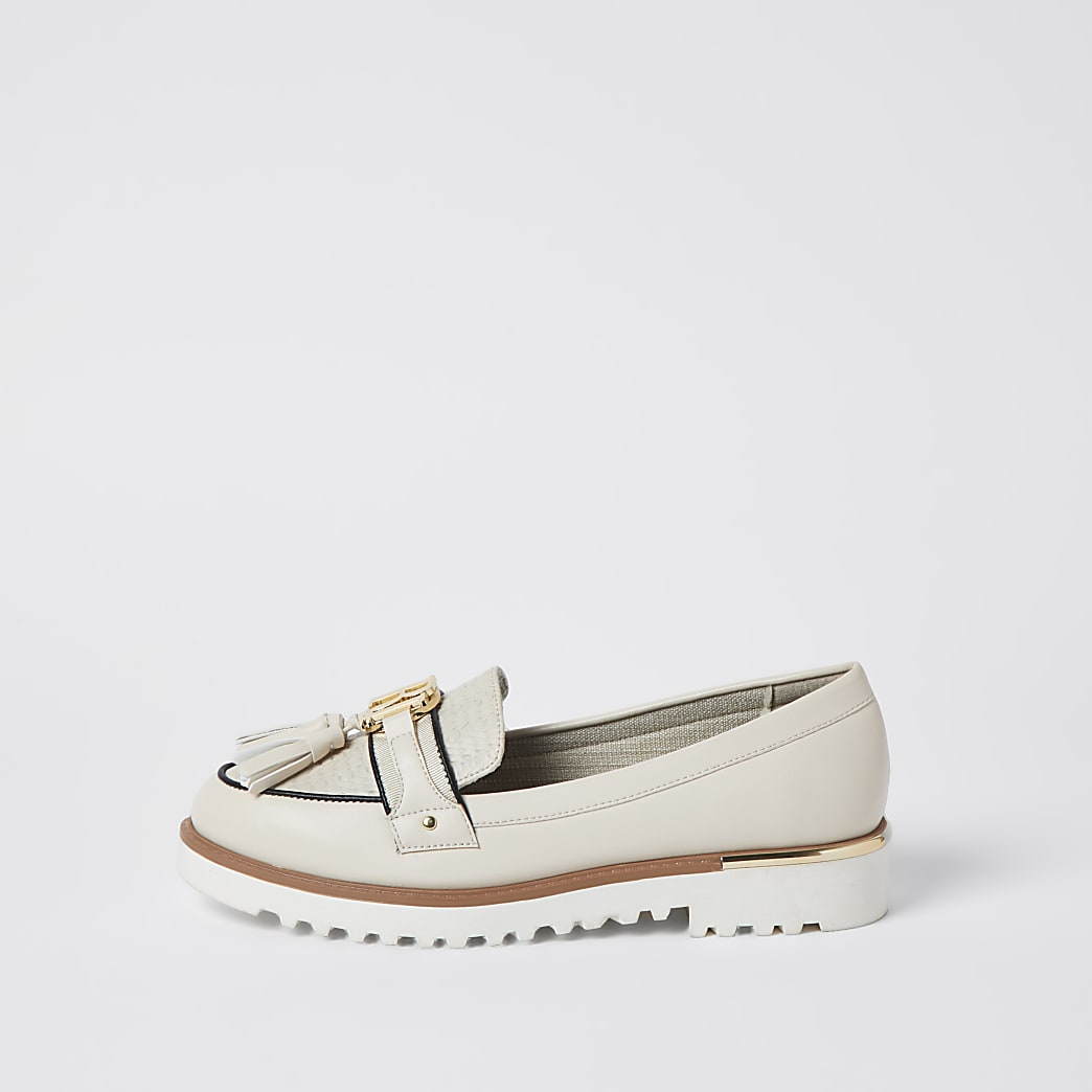 Cream RI branded tassel detail loafer
