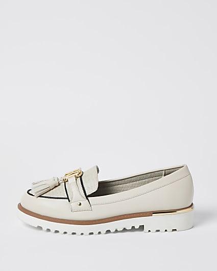 Cream RI branded tassel loafers