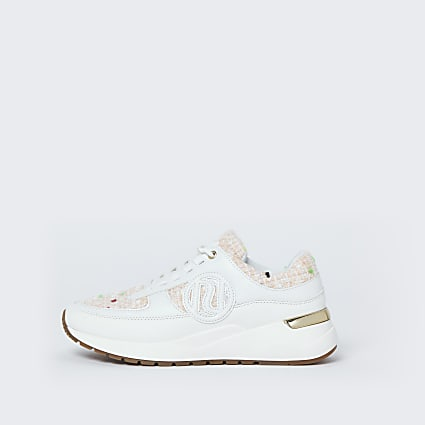 Cream RI chunky lace up boucle trainers