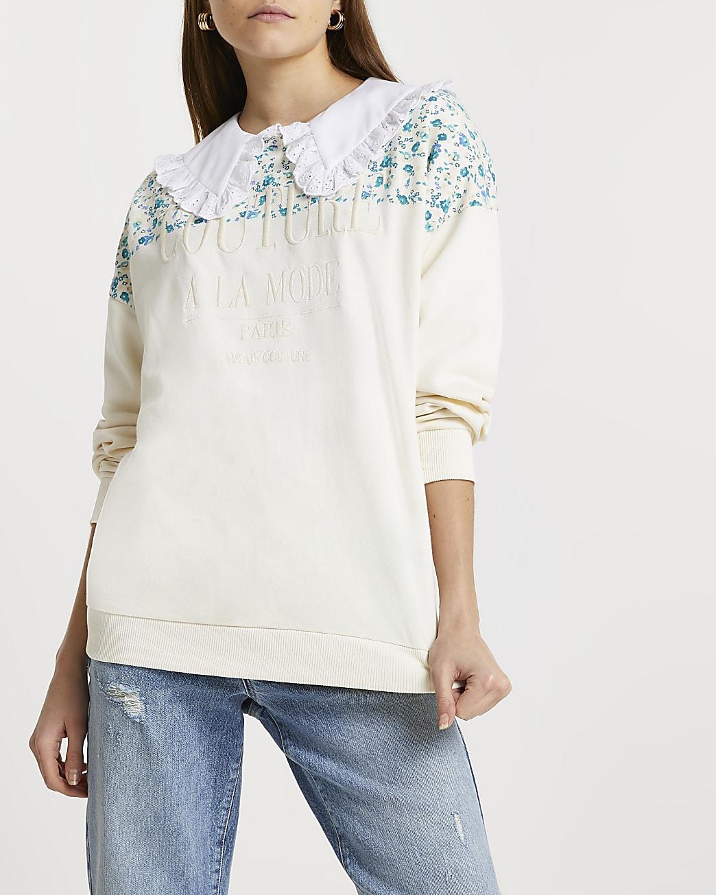 Cream RI couture floral block sweatshirt