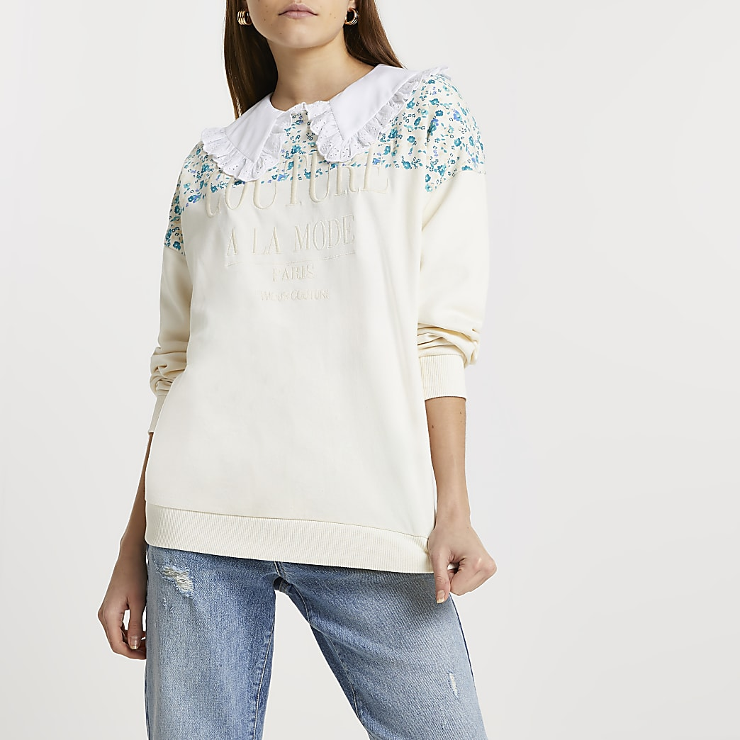 Cream RI couture floral block sweatshirt
