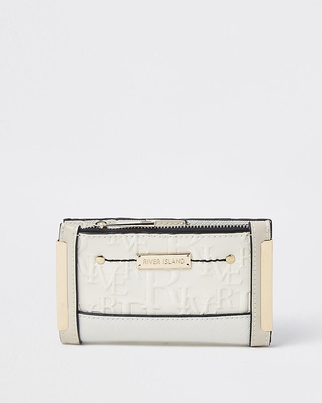 Cream RI embossed mini foldout purse