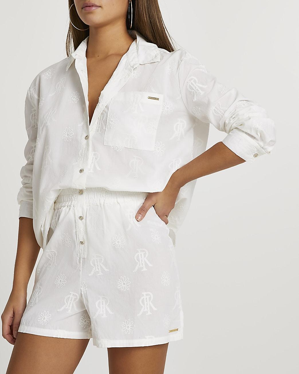 Cream RI embroidered lounge shorts