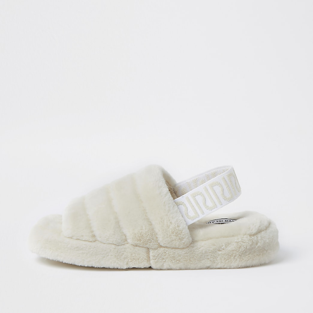 Cream RI faux fur mule slippers