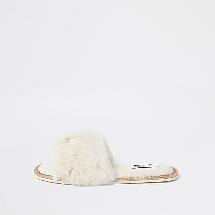 Cream RI faux fur open toe mule slippers