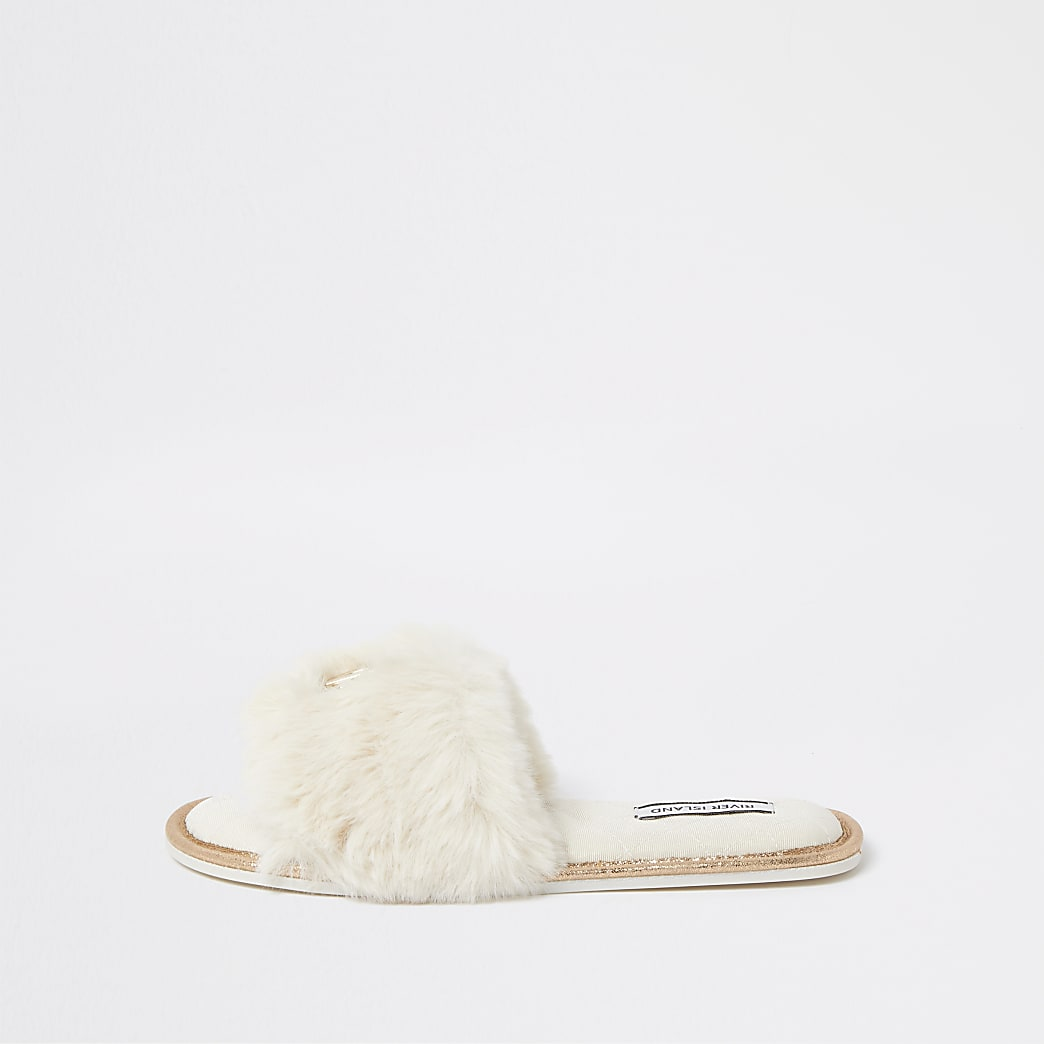 Cream RI faux fur open toe mule slippers