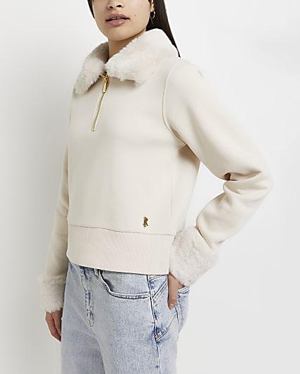 Cream RI fur trim half zip neck sweatshirt