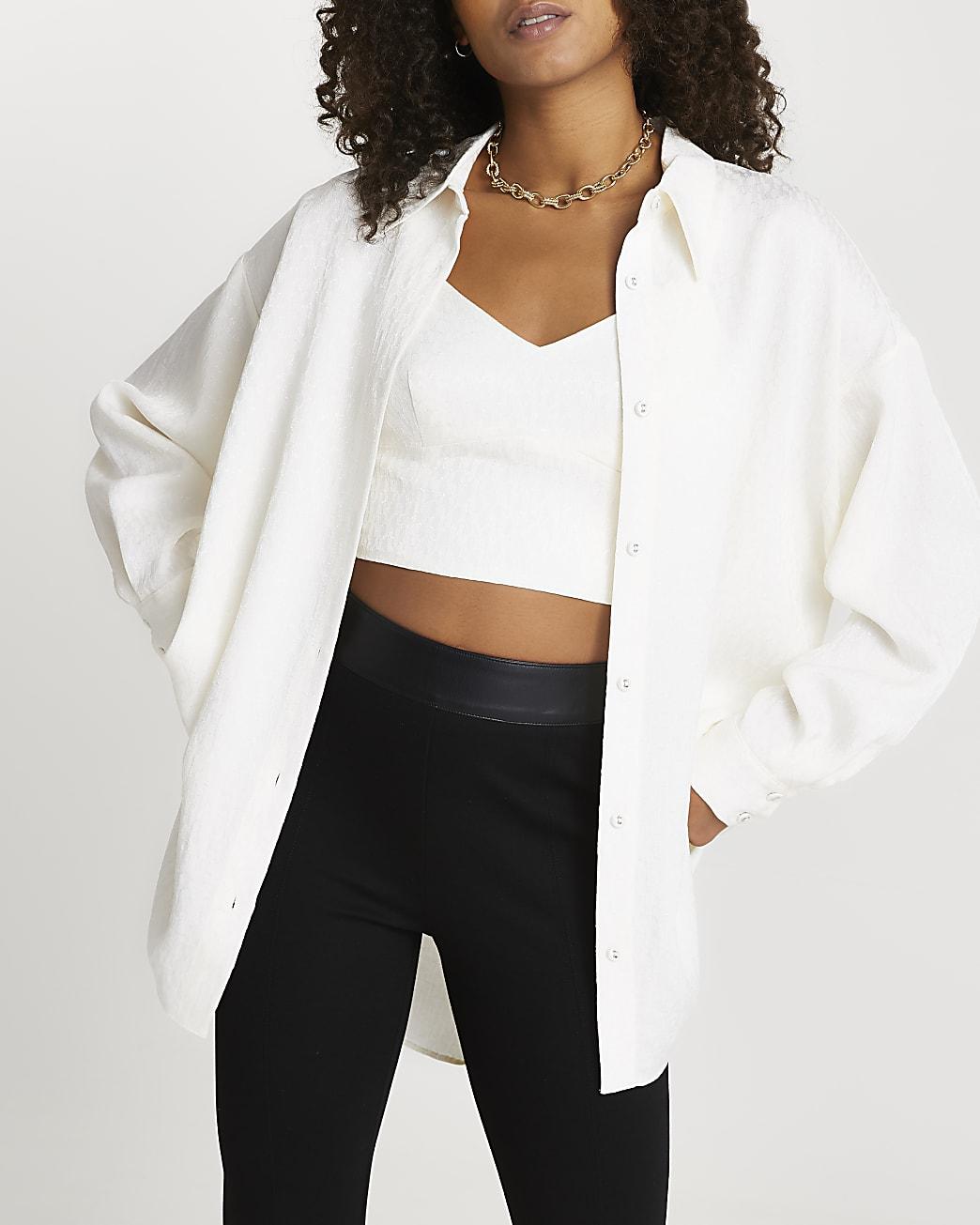 Cream RI jacquard monogram shirt