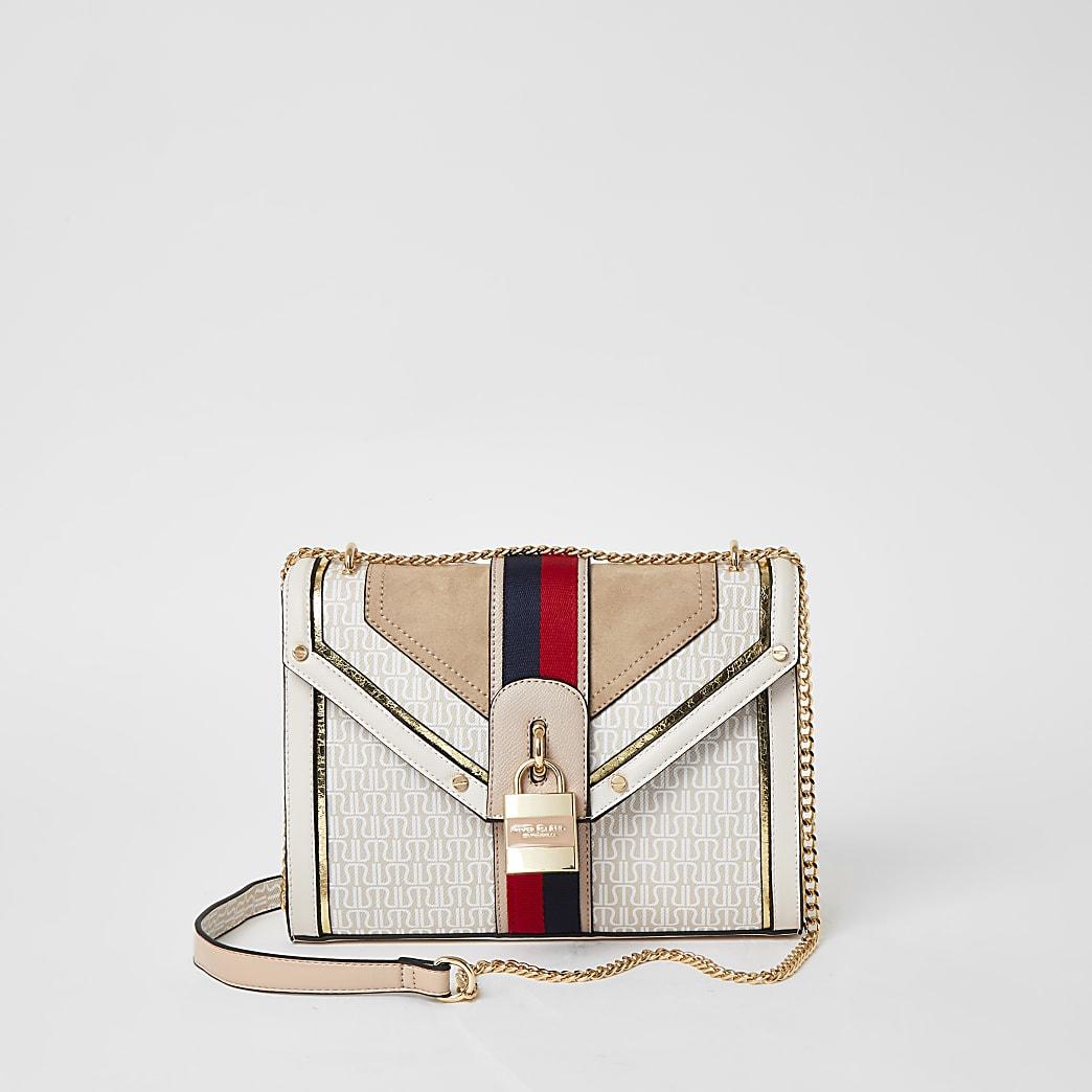 Cream RI monogram Cross Body Handbag