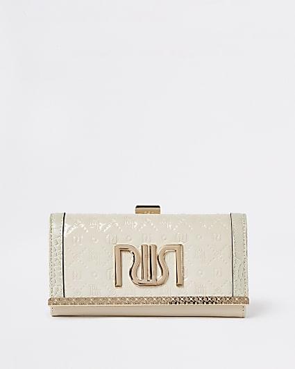 Cream RI monogram embossed purse