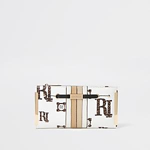 Cream RI monogram fold out purse