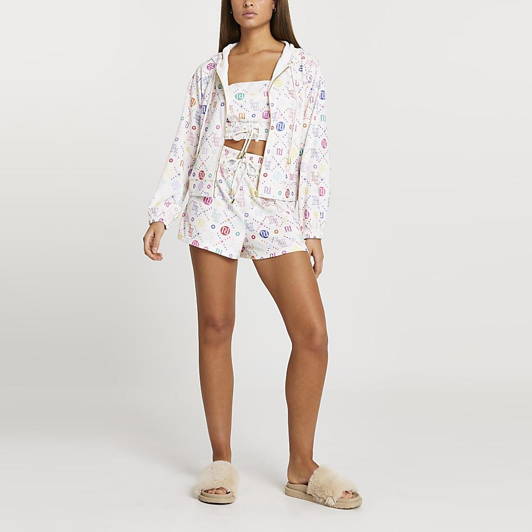 Cream RI monogram hoodie