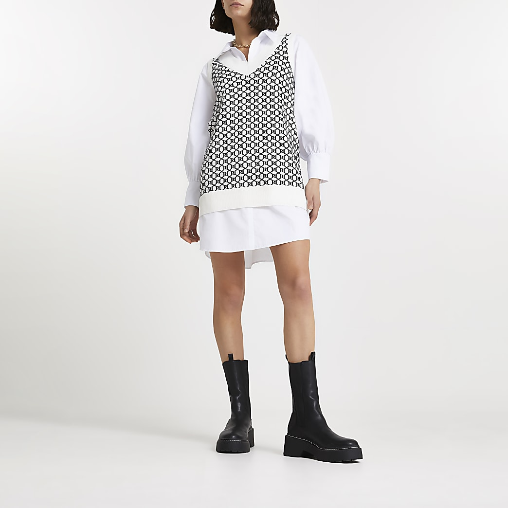 Cream RI monogram knitted shirt dress