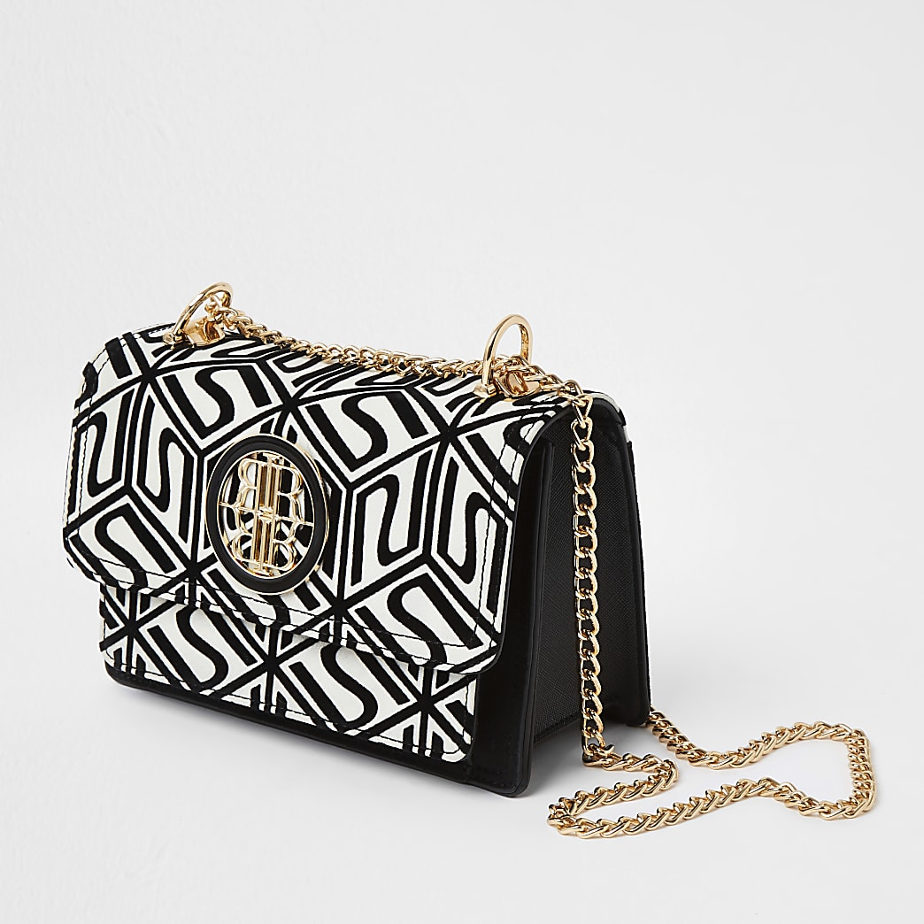 Cream RI monogram print satchel handbag