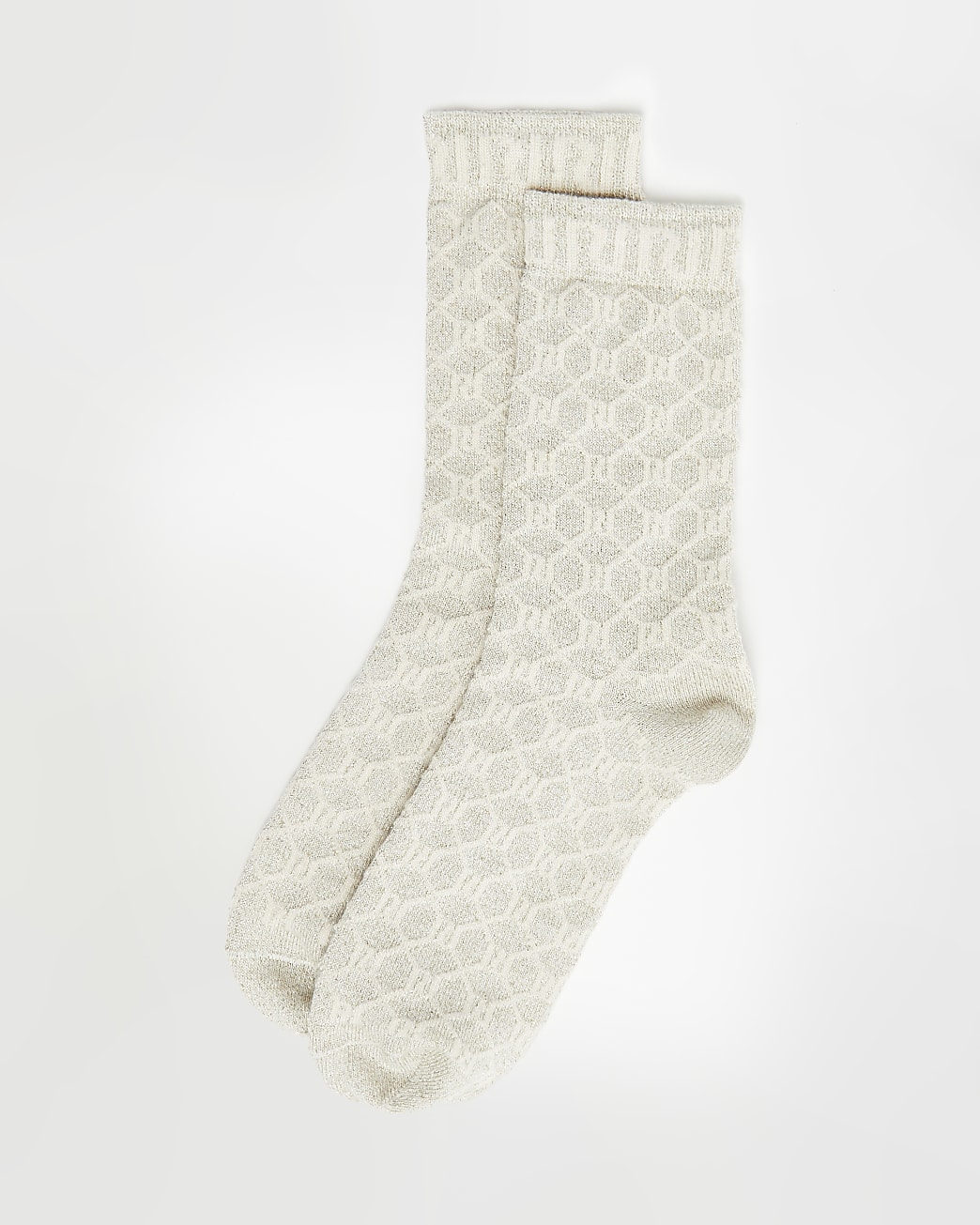 Cream RI monogram print tube socks