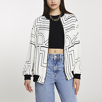 Cream RI Monogram Printed Bomber