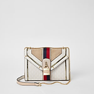 Cream RI monogram tape front bag