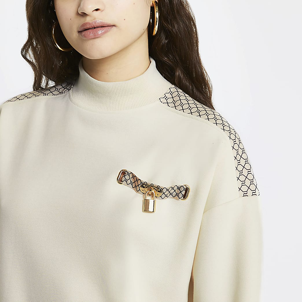 Cream RI monogram trimmed sweatshirt