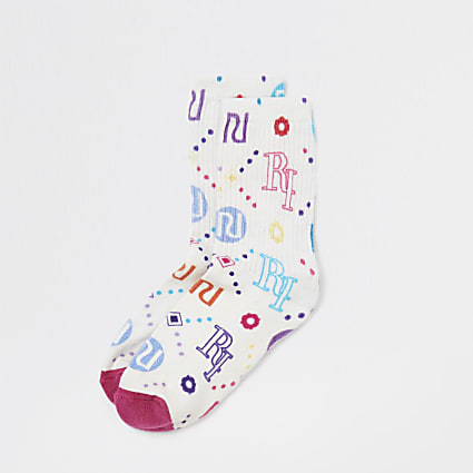 Cream RI pattern socks