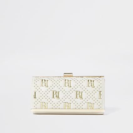 Cream RI studded cliptop purse