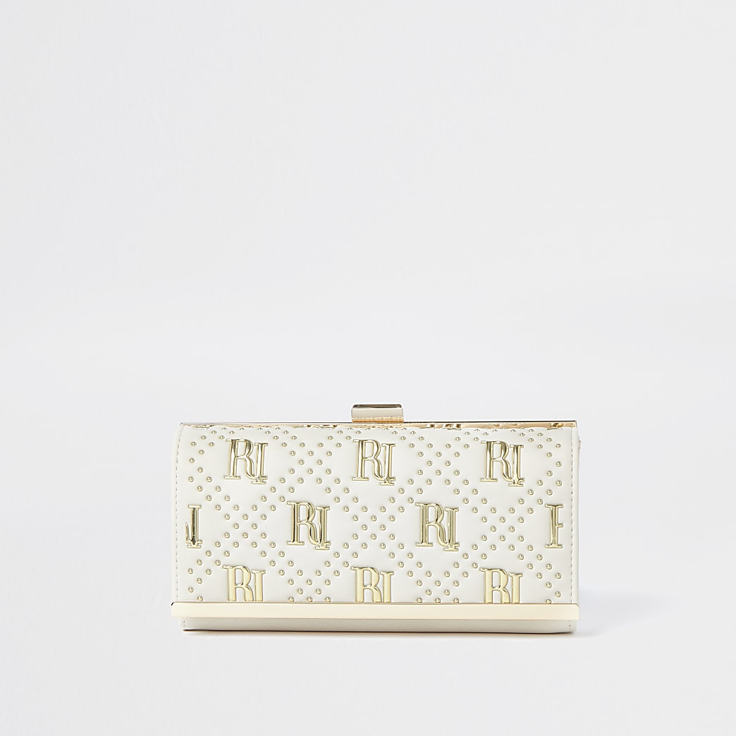 Cream RI studded cliptop purse