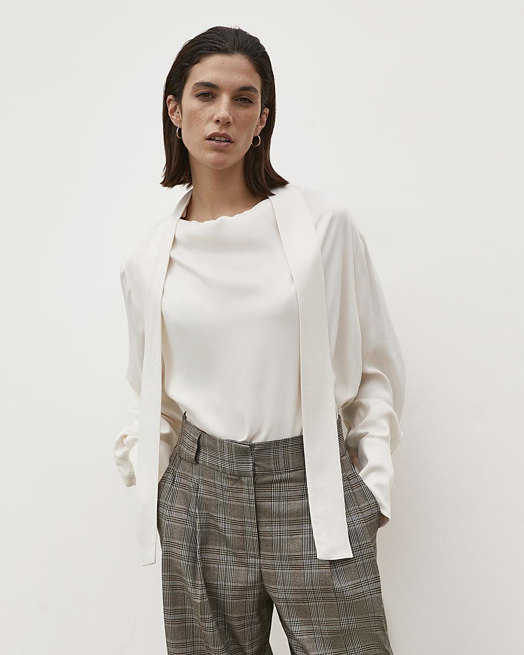 Cream RI Studio Cowl Tie Neck Blouse