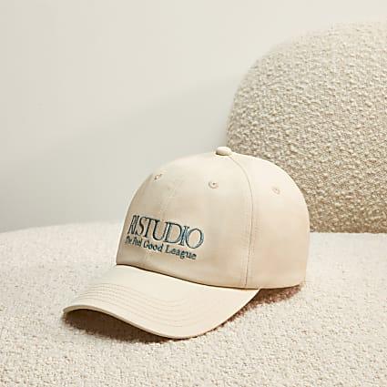 Cream RI Studio Embroidered Logo Cap
