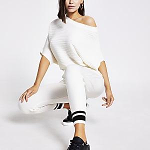 Pantalon de jogging en maille côtelée crème
