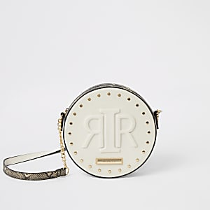 Cream RIR embossed circle cross body bag