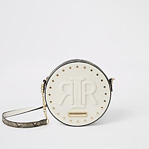 Sac cercle à bandoulière avec logo RIR en relief crème
