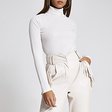 Cream roll neck long sleeve ribbed top