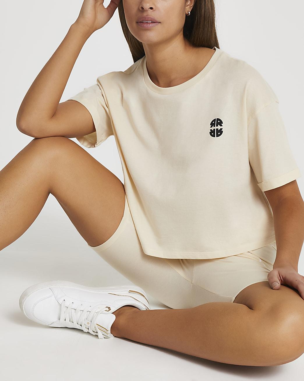 Cream RR cropped t-shirt