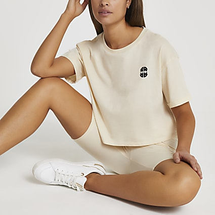 Cream RR cropped t-shirt