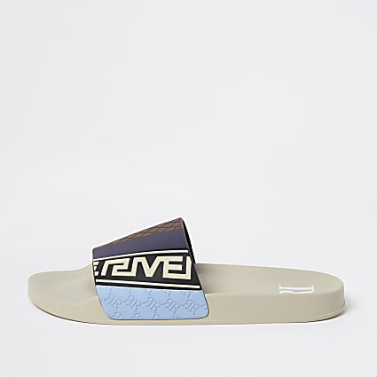 Cream RR embossed blocked sliders