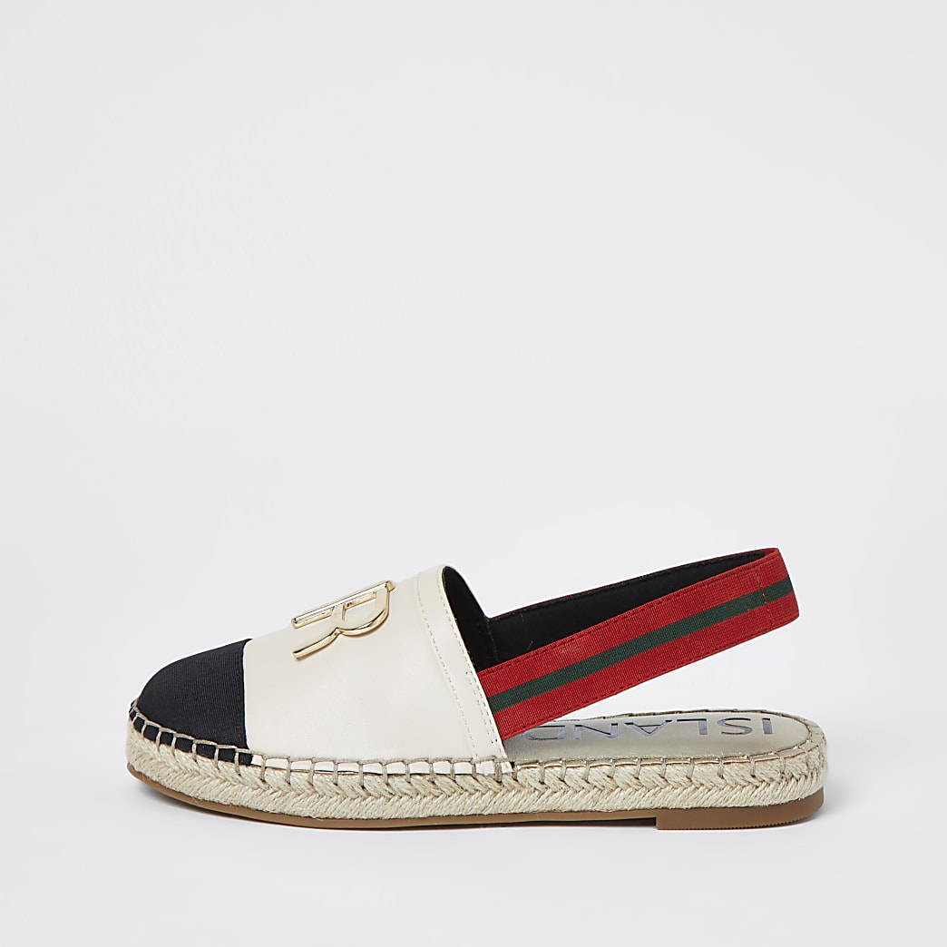 Cream 'RR' sling back espadrille sandals