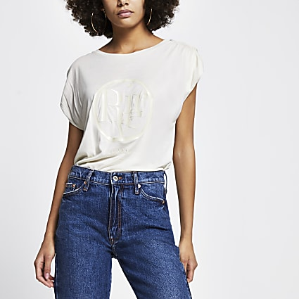 Cream ruched sleeve t-shirt