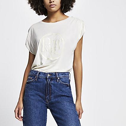 Cream Ruched Sleeve Tshirt