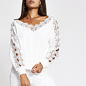 Cream scallop lace bardot top