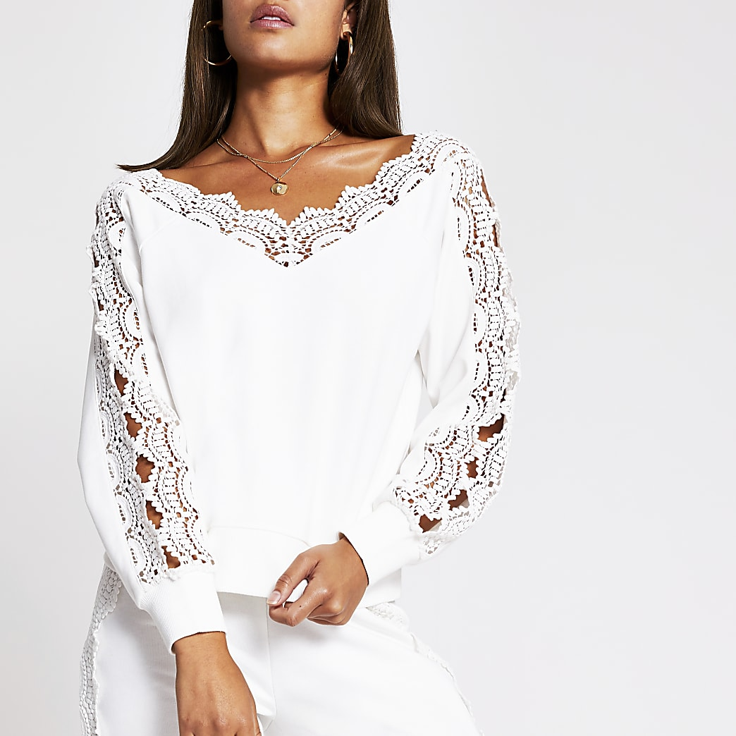 Cream scallop lace bardot top