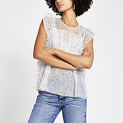Cream sequin embellished frill blouse