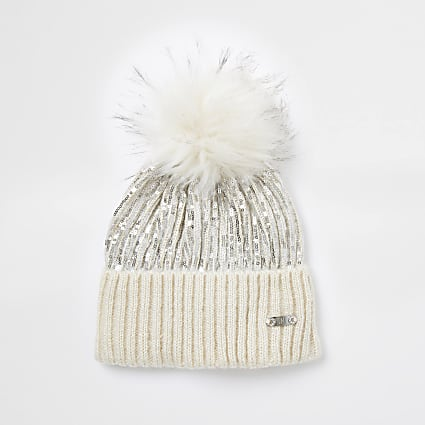 Cream sequin faux fur pom pom beanie hat