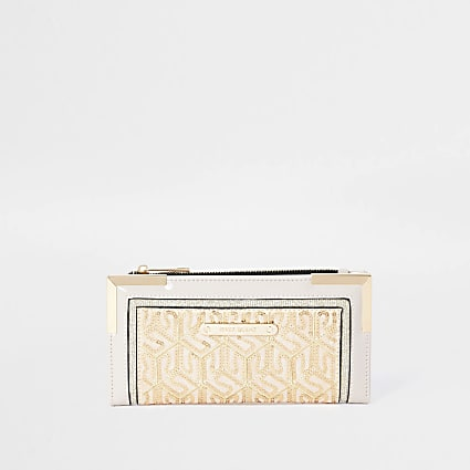 Cream sequin purse