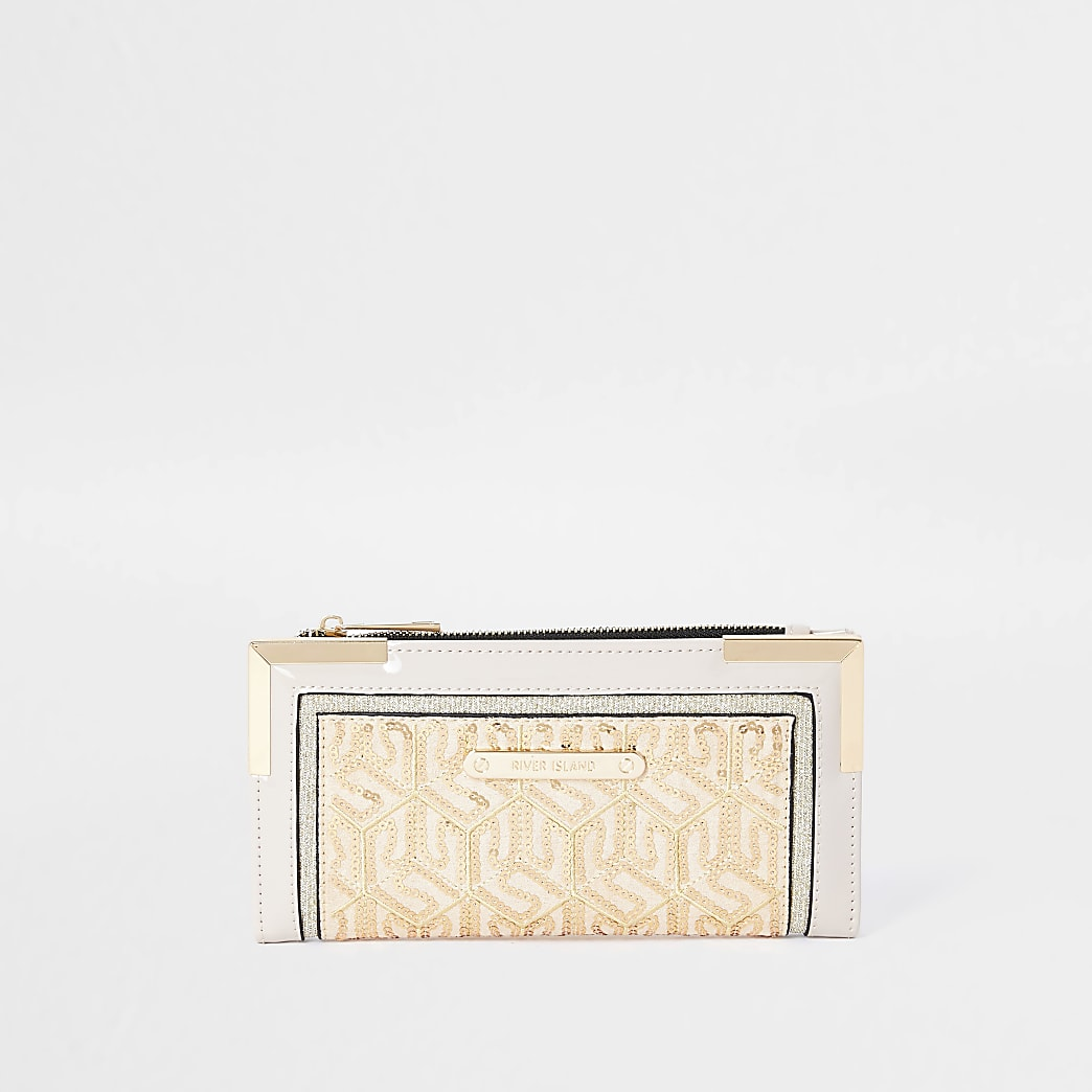 Cream sequin purse