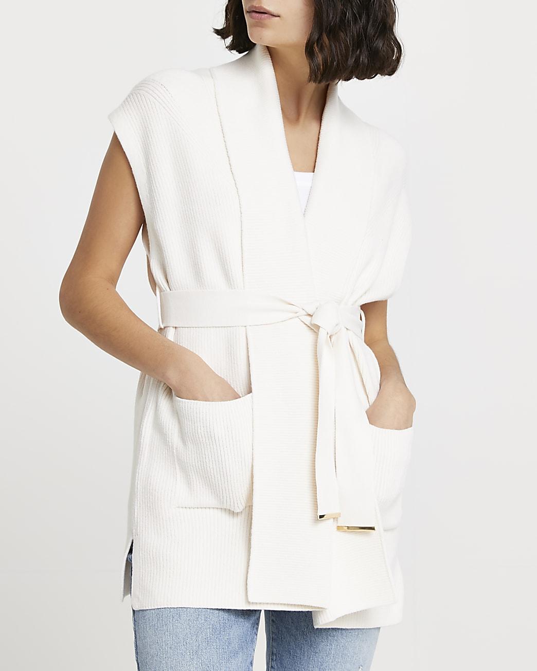 Cream shawl collar tie waist cardigan
