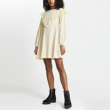 Cream shirred frill mini dress