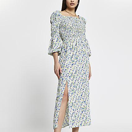 Cream shirred puff sleeve maxi dress